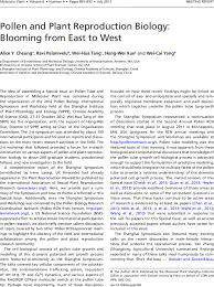 pollen and plant reproduction biology blooming from east to west  first page of article