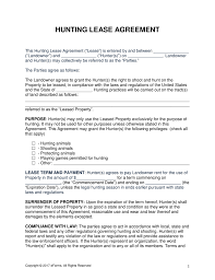 Hunting Lease Agreement Free Hunting Lease Agreement PDF Word eForms Free Fillable Forms 1
