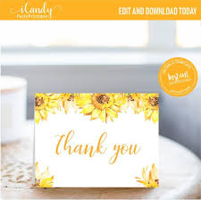 Baby Card Notes Personalized Baby Shower Thank You Card Sunflower Thank You