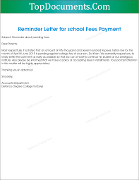 Sample Reminder Letter for School Fees Payment
