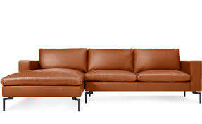 new standard leather sofa with chaise from blu dot