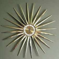 mid century starburst clocks mid century modern starburst clock gold sunburst wall clock vintage mid century