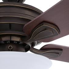 hampton bay wellston 44 in led indoor oil rubbed bronze ceiling fan with light