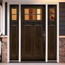 home depot craftsman door 6 clear craftsman stained chestnut mahogany left hand fiberglass front door w