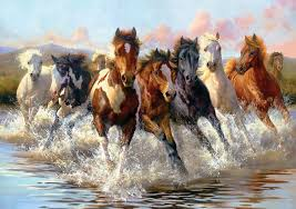 art horses group animal water mountain wallpaper 1440x1015