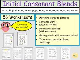 First grade english language arts worksheets. Consonant Blends Or Clusters Initial Consonant Blends 56 Worksheets Teaching Resources