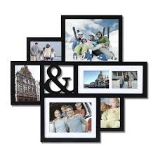 adeco black wood wall hanging picture photo frame collage with ampersand cut out