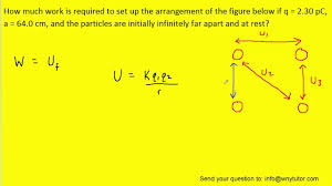 How much work is required to set up the arrangement of the figure below if q  = 2.30 pC, a = 64.0 cm,