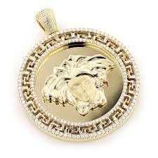 10k gold medusa medallion versace style diamond pendant 1 86ct main image