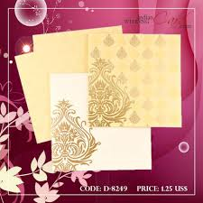Indian Wedding Card Designs With Price D 8249 Cream Color Designer Multifaith Invitations