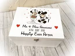 personalised wooden disney wedding box minnie mickey mouse enement gift