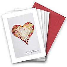 Rare Red Valentines Day Sea Glass Heart Note Cards Love 3 5x5 8 Best Quality Blank Folded Cards Matching Envelopes Unique As Thank You Notes