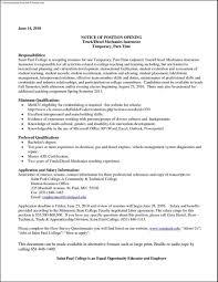 resume for diesel mechanic