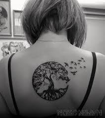 татуировка на спине у девушки дерево и маленькие птички фото