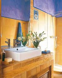 yellow bathroom color ideas. Blue Paint And Yellow Wall Tiles In Bathroom Color Ideas