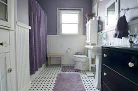 traditional white bathroom ideas. Purple And White Bathroom Ideas Excellent Black Floor Tiles  Traditional Wainscot .