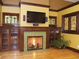 arts crafts tile fireplace showcase traditional living room