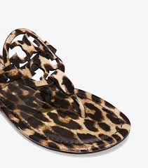 tory burch sandals womens miller sandal printed patent leather natural leopard