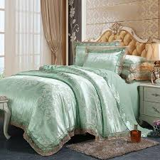 luxury satin cotton lace bedding set