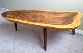 awesome wood slab coffee table