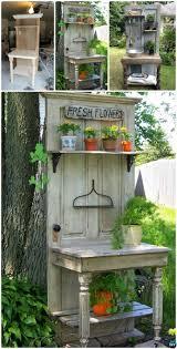 diy garden door potting bench repurpose old door into door bench instruction