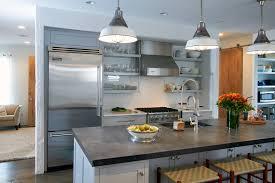 built kitchen island transitional open shelving