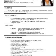 Sample Resume In Applying A Job Sample Resume Cover Letter For
