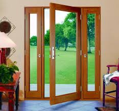three panel glass doors with side panels that open Vented