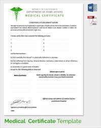 Medical Certificate Template Sample Resume Letters Job Application