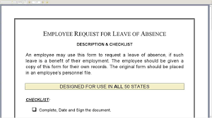 doc leave application form for employee doc leave employee request for leave of absence form leave application form for employee