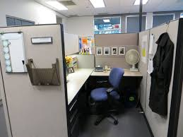 office desk cubicle. Decor Office Desk With L Shape And Divider In White Black Color Blue Chair Cubicle