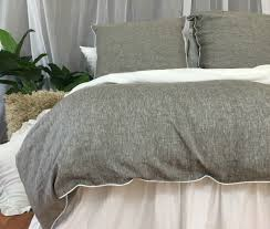 soft white duvet cover. Brilliant Cover Chambray Grey Linen Duvet Cover With Soft White Piping Available In Twin  Full Queen King Calif For S