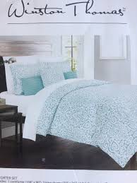 winston thomas teal white design comforter sets 1 king size 1 queen size m m home staging furniture als