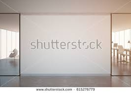 modern office walls. Modern Office Interior With Furniture And Blank Wall. Toned Image. Mock Up, 3D Walls O