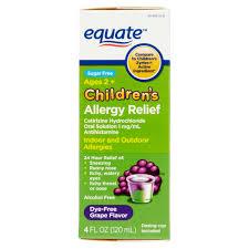 equate children s allergy relief cetirizine suspension g flavor sugar free dye free 4 oz walmart