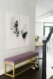 entrance foyer furniture. Purple Foyer Bench Under Abstract Art Entrance Furniture