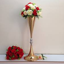 Free Shipping Gold Wedding centerpiece Table decor metal flower vase  Wedding decoration 70cm Tall 10pcs/