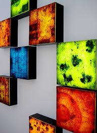encaustic on plexiglass fluorescent backlighting