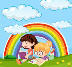 s reading book in park with rainbow in sky free vector