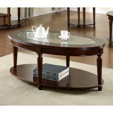 furniture of america crescent dark cherry glass top oval coffee table oval glass and wood coffee