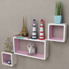 3 mdf floating cubes wall storage book cd