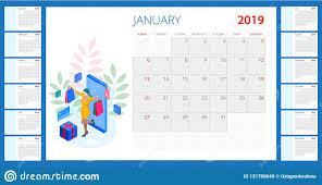 Calendar Template Online Calendar 2019 Set Of 12 Months And Shopping Online Concept