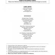 Resume Personal Reference Page Template Format College Student
