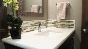 powder bathroom vanity lg viatera quartz cashmere undermount sink porcelain kohler glazzio tile random interlocking mosaic
