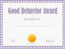 award certificates template good behavior award certificates