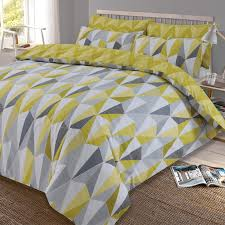 dreamscene billie duvet cover with pillowcase reversible geometric triangle bedding set yellow ochre grey single