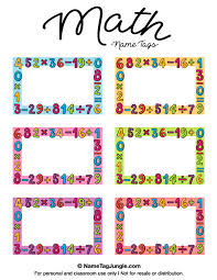 free printable math name tags the template can also be used for creating items like