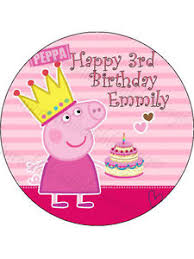 Details About 19cm Round Personalised Peppa Pig Edible Icing Birthday Cake Topper Party Deco