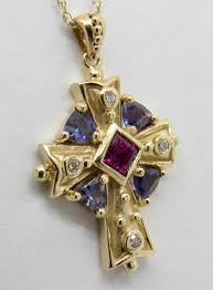 multicolor stone diamond yellow gold cross send email mail