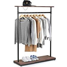 Free Standing Coat Rack With Shelf Beauteous Amazon MyGift 32Inch Rustic Industrial Wood Pipe Design